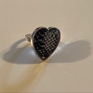 Snake Skin Heart Ring